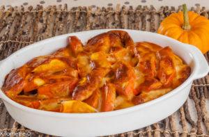 Photo de recette de gratin de potimarron, facile, rapide, léger, patates douces, scamorza, jambon de Kilomètre-0, blog de cuisine réalisée à partir de produits locaux et issus de circuits courts