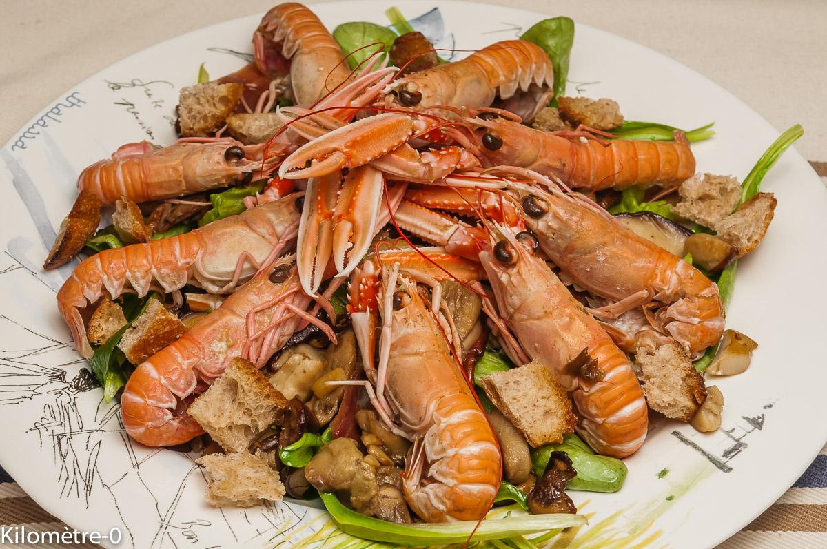 Photo de recette de cèpes, langoustines, facile, mâche, rapide, légère, de Kilomètre-0, blog de cuisine réalisée à partir de produits locaux et issus de circuits courts