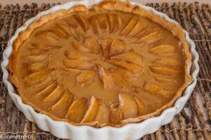 Photo de recette de tarte poire, confiture de lait, facile, légère de Kilomètre-0, blog de cuisine réalisée à partir de produits locaux et issus de circuits courts