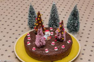 Photo de recette de fondant au chocolat, Noël, rigolo, original,enfant, beau gâteau de Noël, léger, rapide, facile, Kilomètre-0, blog de cuisine réalisée à partir de produits locaux et issus de circuits courts