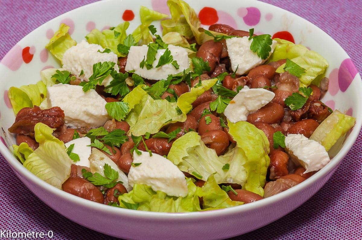 Photo de recette de salade composée, haricots blancs, borlotti,saucisse, Morteau, mozzarella, tomates confites, facile, rapide, léger, Kilomètre-0, blog de cuisine réalisée à partir de produits locaux et issus de circuits courts