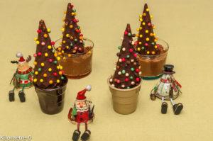 Photo de recette de Noël, enfant, facile, chocolat, sapin, sapin décoré, mousse au chocolat, chocolat noir, original, beau, léger, rapide  Kilomètre-0, blog de cuisine réalisée à partir de produits locaux et issus de circuits courts