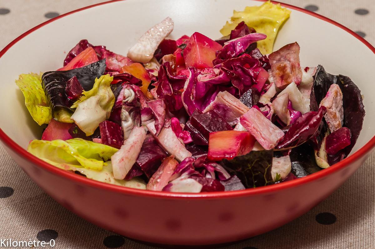 Photo de recette de salade pommes de terre, radis noir, bacon, betterave rouge, facile, rapide, bio, léger, simple, salade composée, Kilomètre-0, blog de cuisine réalisée à partir de produits locaux et issus de circuits courts