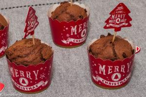 Photo de recette de muffins, chocolat, facile, rapide, Noël, léger de Kilomètre-0, blog de cuisine réalisée à partir de produits locaux et issus de circuits courts