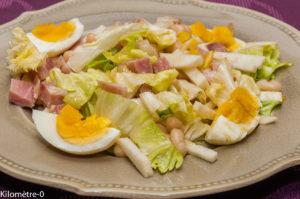 Photo de recette de  salade, haricots, coco de Paimpol, oeuf dur, salade, radis noir, rapide, léger, bio, Kilomètre-0, blog de cuisine réalisée à partir de produits locaux et issus de circuits courts