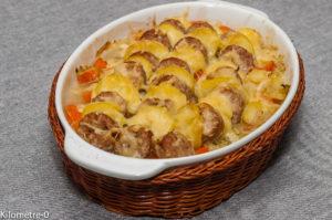 Photo de recette de gratin, saucisse, chou, facile, fromage, emmental, pomme de terre de Kilomètre-0, blog de cuisine réalisée à partir de produits locaux et issus de circuits courts
