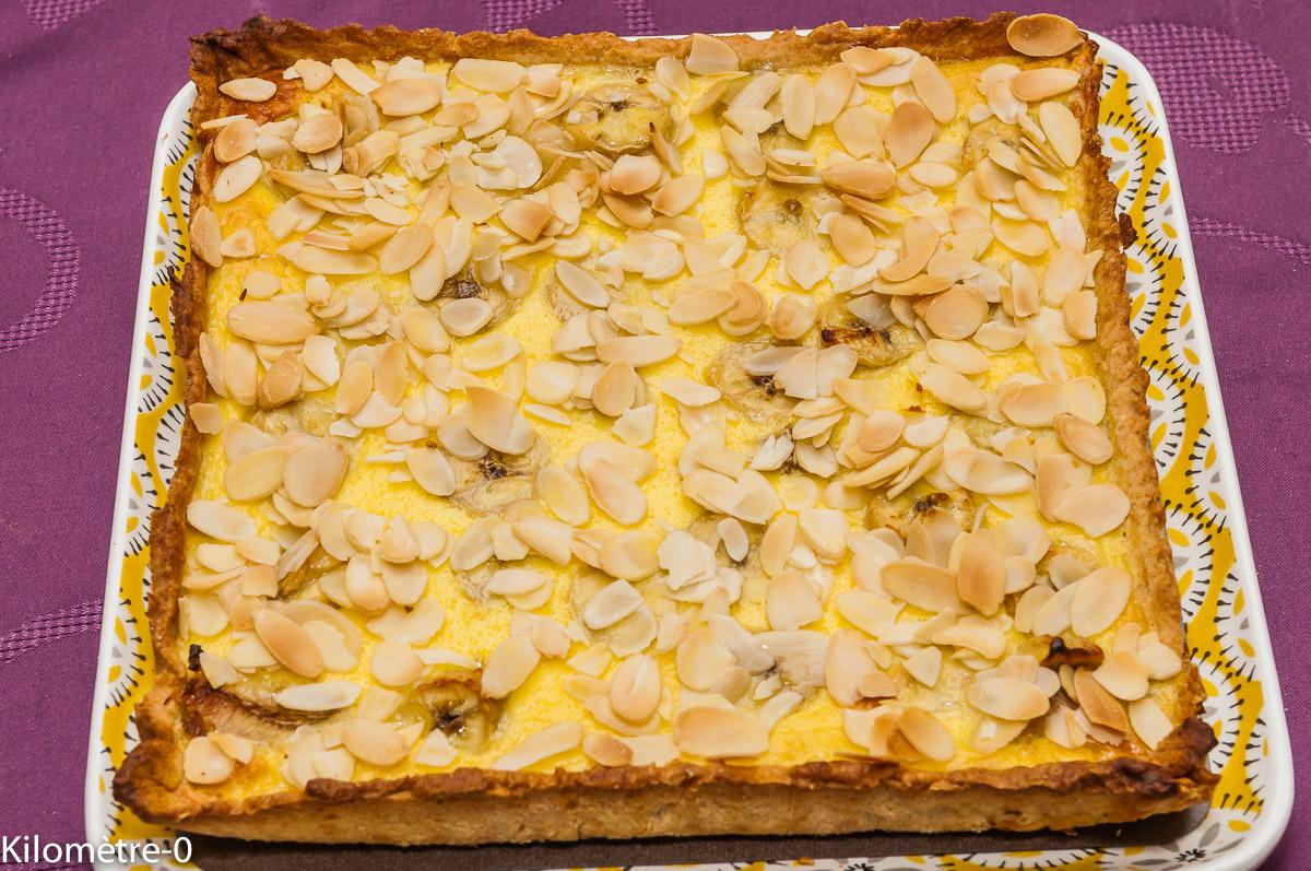 Photo de recette de tarte banane, confiture de lait, chocolat, gourmande, facile, rapide, Kilomètre-0, blog de cuisine réalisée à partir de produits locaux et issus de circuits courts