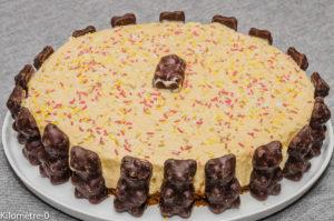 Photo de recette de gâteaun, anniversaire, enfant, nounours, ours en guimauve, cheesecake, mangue, facile, rapide, léger Kilomètre-0, blog de cuisine réalisée à partir de produits locaux et issus de circuits courts