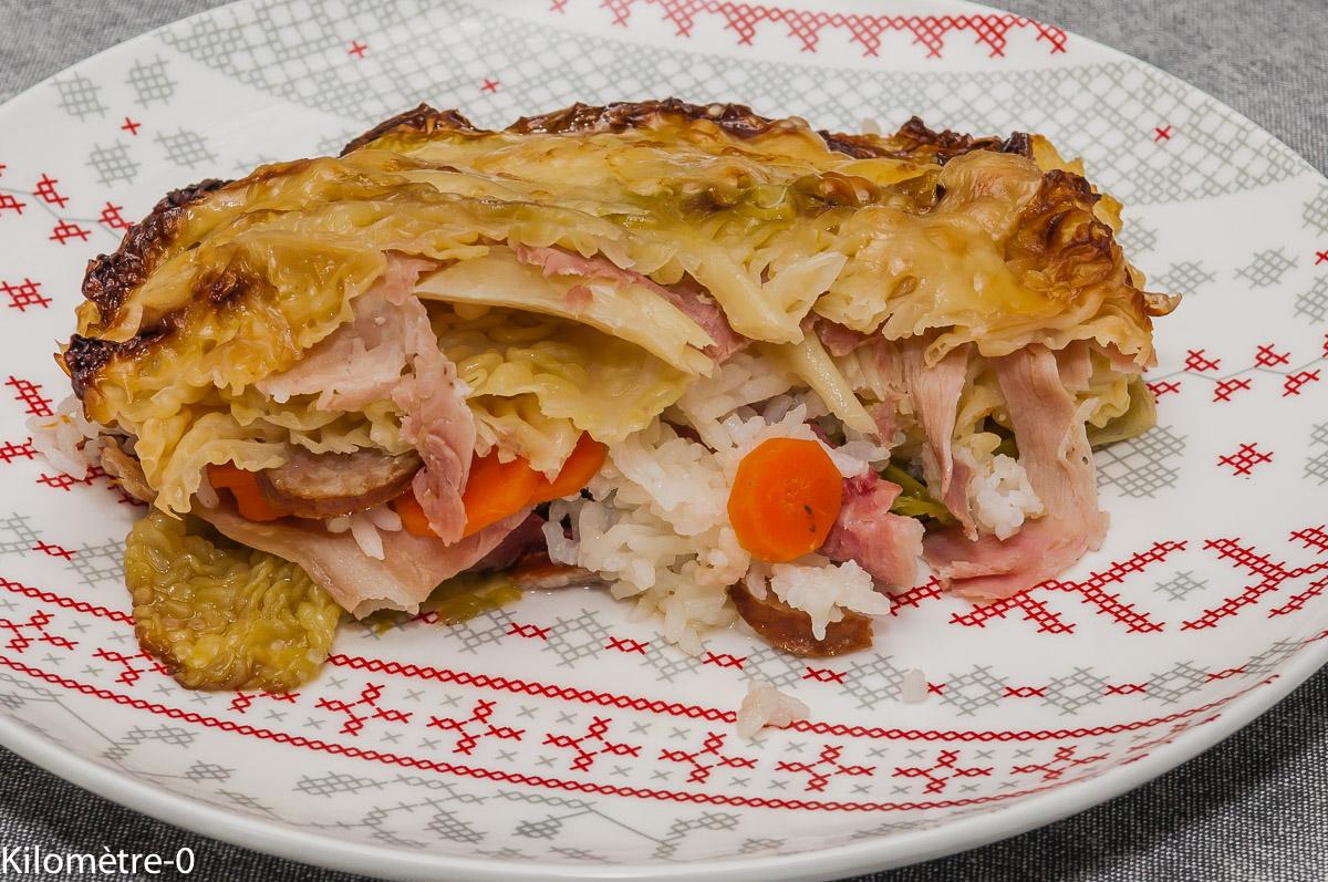 Photo de recette de gratin, chou, jambon, carottes, riz, facile, léger, bio de Kilomètre-0, blog de cuisine réalisée à partir de produits locaux et issus de circuits courts