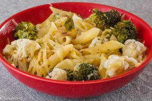 Photo de recette de pâtes, brocolis, chou fleur, emmental, rapide, léger, facile, bio,  Kilomètre-0, blog de cuisine réalisée à partir de produits locaux et issus de circuits courts