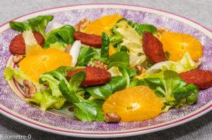 Photo de recette de salade, orange, chorizo, noix, facile, bio, rapide, léger, pas cher, simple, hiver, agrumes deKilomètre-0, blog de cuisine réalisée à partir de produits locaux et issus de circuits courts