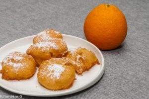 Photo de recette de beignet facile, orange, facile, rapide, léger, bio de Kilomètre-0, blog de cuisine réalisée à partir de produits locaux et issus de circuits courts