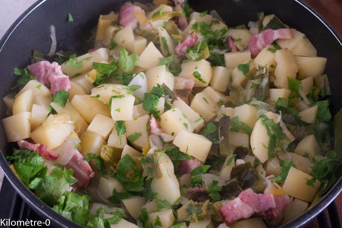 Photo de recette de tofailles, facile, rapide, bio, pomme de terre, lardons, poireau, persil Kilomètre-0, blog de cuisine réalisée à partir de produits locaux et issus de circuits courts