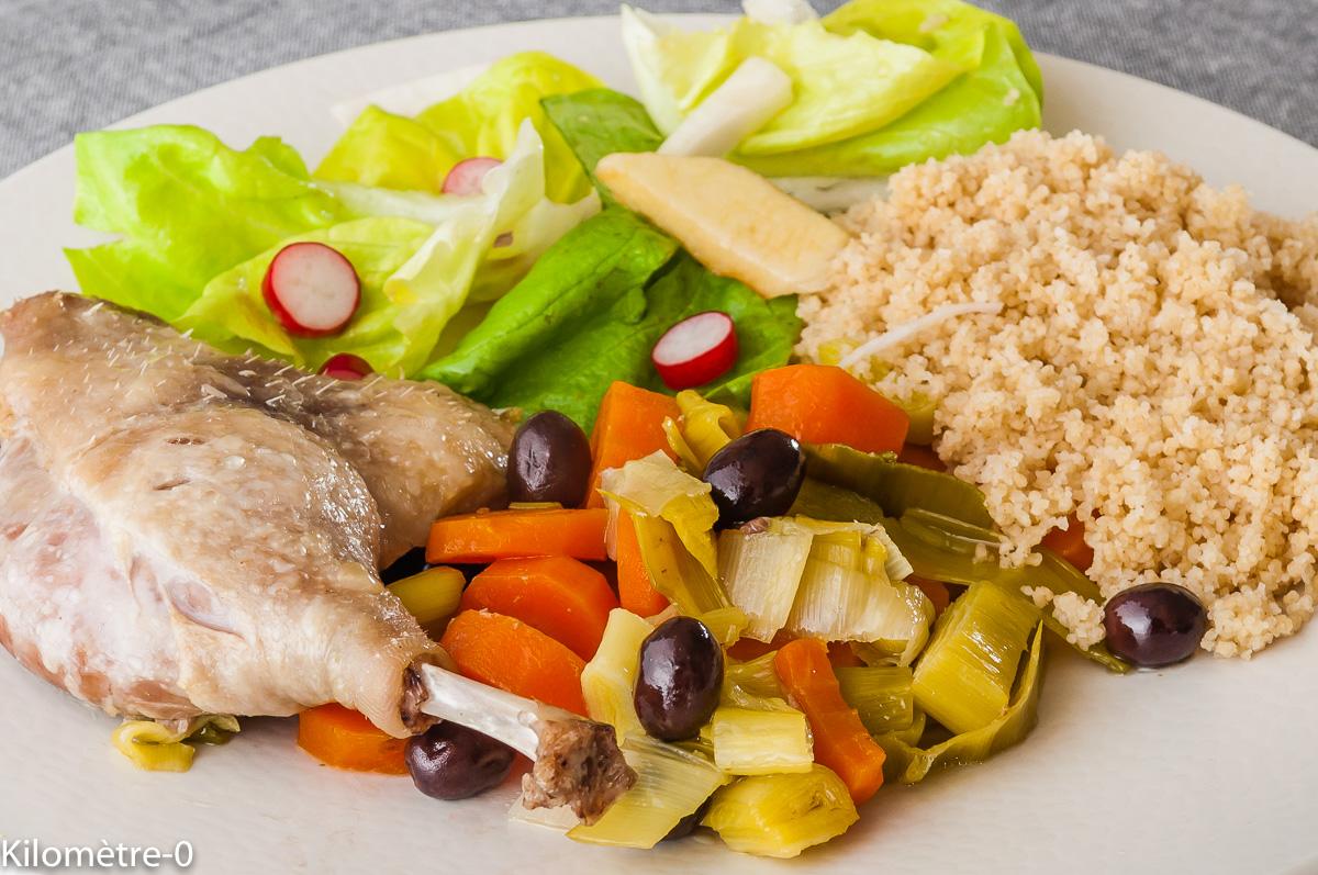 Canard aux légumes d\u2019hiver et aux olives
