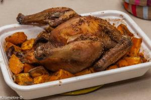 Photo de recette de poulet rôti, sauce soja, graines de sésame, facile, rapide, bio, léger, patates douces  Kilomètre-0, blog de cuisine réalisée à partir de produits locaux et issus de circuits courts