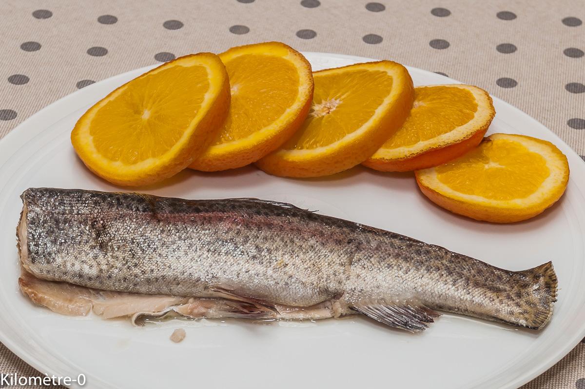 Photo de recette de truite à l'orange facile  de  Kilomètre-0, blog de cuisine réalisée à partir de produits locaux et issus de circuits courts