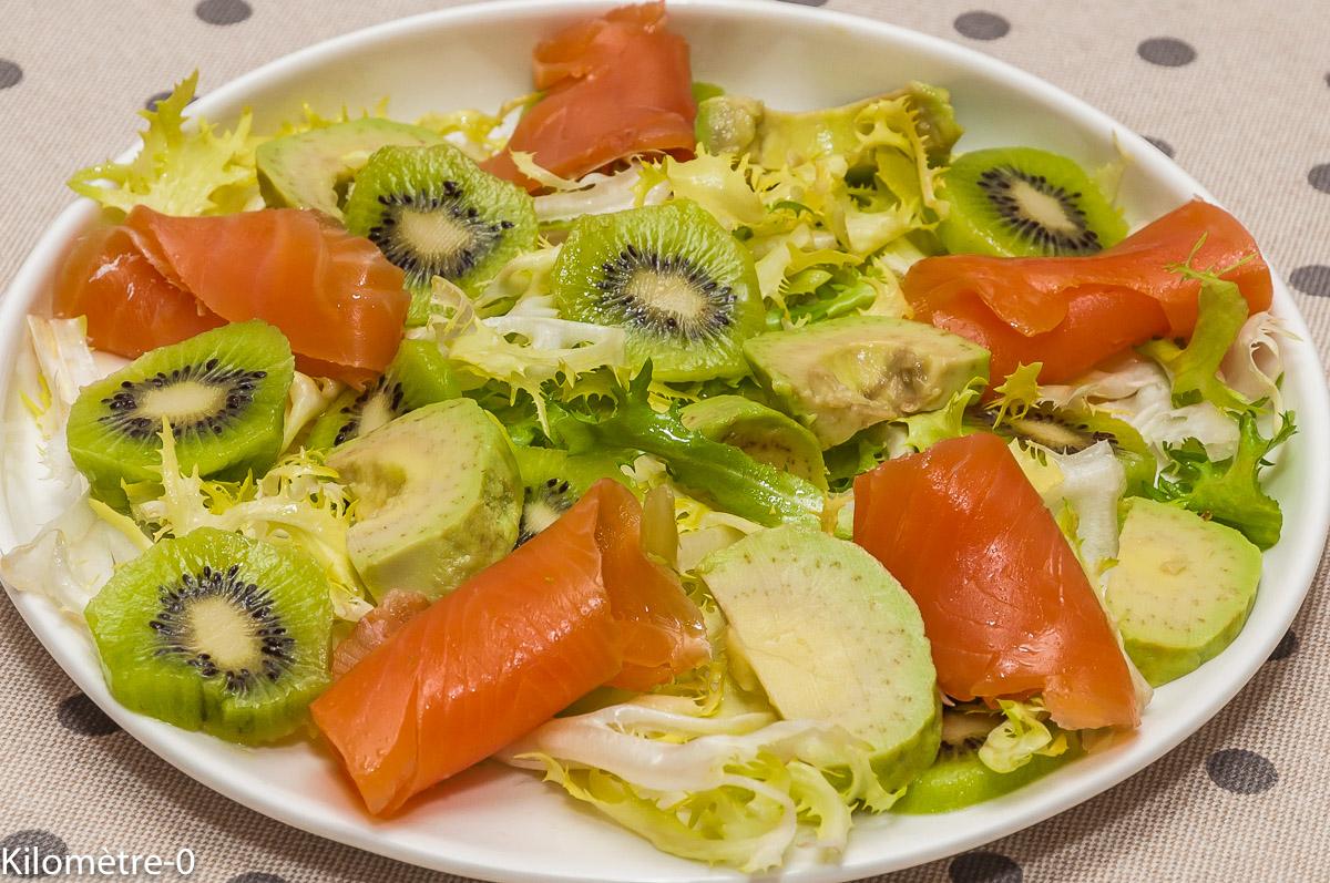 Photo de recette de salade kiwis, avocat, saumon fumé, facile, rapide, léger de Kilomètre-0, blog de cuisine réalisée à partir de produits locaux et issus de circuits courts
