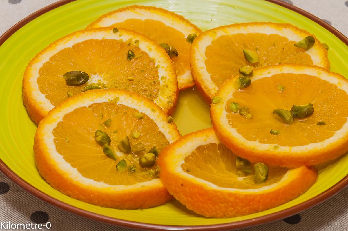 Photo de recette de salade d'oranges facile, pistaches, léger, bio de  Kilomètre-0, blog de cuisine réalisée à partir de produits locaux et issus de circuits courts