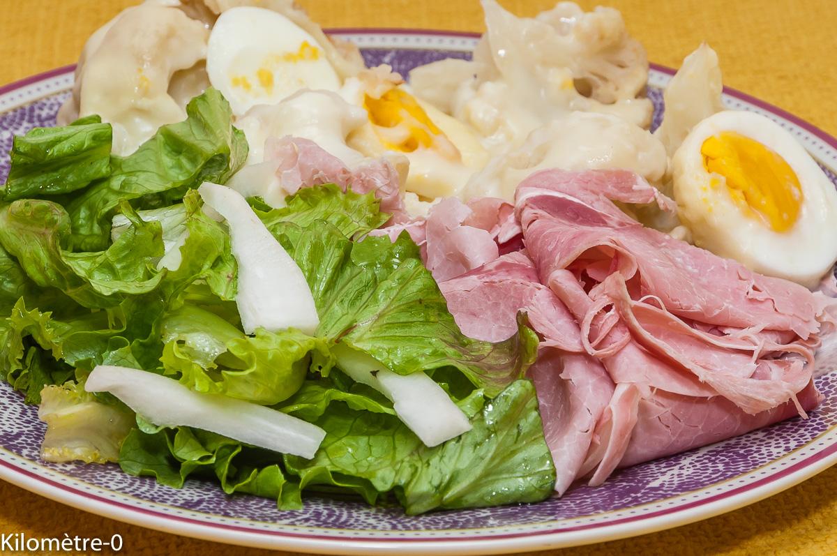 Photo de recette de chou fleur, oeuf et jambon blanc, facile, léger, rapide, bio de Kilomètre-0, blog de cuisine réalisée à partir de produits locaux et issus de circuits courts