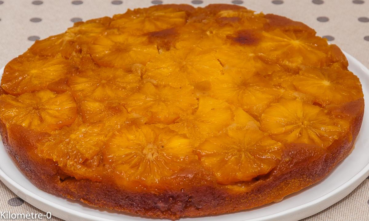 Photo de recette de gâteau renversé aux oranges de Kilomètre-0, blog de cuisine réalisée à partir de produits locaux et issus de circuits courts