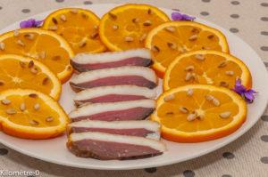 Photo de recette de salade, orange, magret séché, pignons de pin, léger, facile, rapide de Kilomètre-0, blog de cuisine réalisée à partir de produits locaux et issus de circuits courts