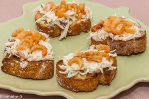 Photo de recette de canapé, toast, radis noir, crevettes grises, léger, facile, rapide, bio de Kilomètre-0, blog de cuisine réalisée à partir de produits locaux et issus de circuits courts
