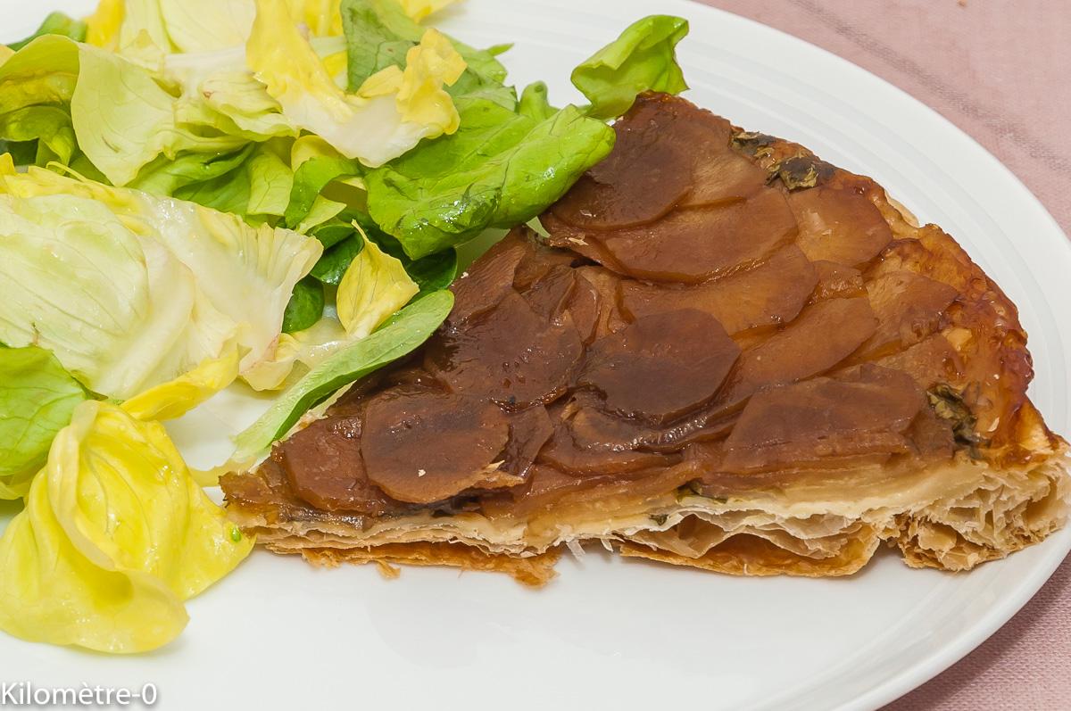 Photo de recette de tarte tatin salé, radis noir, balsamique, caramel, bio, facile , rapide, Kilomètre-0, blog de cuisine réalisée à partir de produits locaux et issus de circuits courts