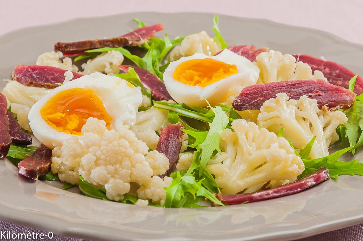 Photo de recette de salade chou fleur, magret de canard, oeuf, roquette, facile, rapide, léger de Kilomètre-0, blog de cuisine réalisée à partir de produits locaux et issus de circuits courts
