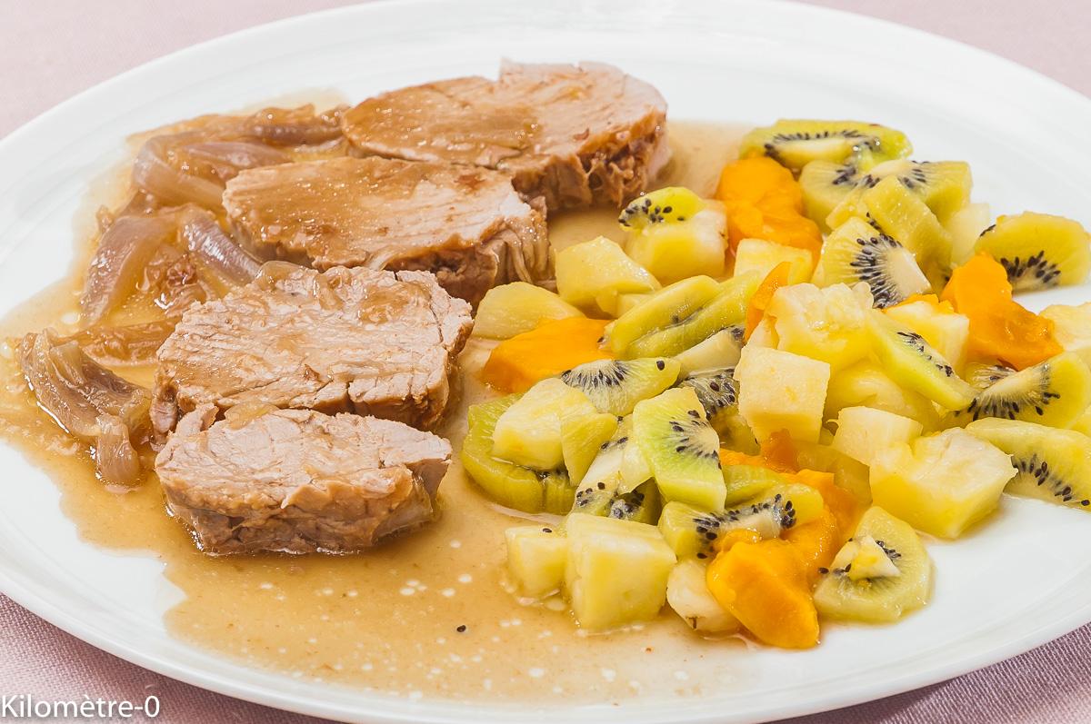 Photo de recette de  filet de porc aux fruits, kiwi, ananas, mangue, facile, rapide, léger de Kilomètre-0, blog de cuisine réalisée à partir de produits locaux et issus de circuits courts