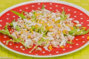 Photo de recette de salade, araignée, oeuf mimosa, roquette, facile, légère, Kilomètre-0, blog de cuisine réalisée à partir de produits locaux et issus de circuits courts