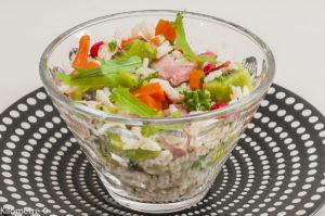 Photo de recette de salade, jambon, riz, kiwi, roquette, carotte, facile, bio, léger, rapide de Kilomètre-0, blog de cuisine réalisée à partir de produits locaux et issus de circuits courts