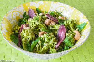 Photo de recette de salade chou romanesco, magret de canard noix de cajou, facile, rapide, léger de  Kilomètre-0, blog de cuisine réalisée à partir de produits locaux et issus de circuits courts