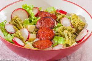 Photo de recette de salade chou romanesco, chorizo, comté, radis, facile, rapide, léger, bio de Kilomètre-0, blog de cuisine réalisée à partir de produits locaux et issus de circuits courts