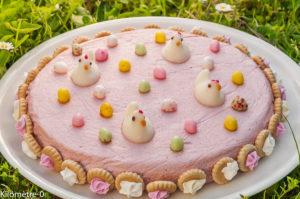 Photo de recette de mousse, framboise, Pâques, facile, léger, poules, gâteau, dessert de  Kilomètre-0, blog de cuisine réalisée à partir de produits locaux et issus de circuits courts