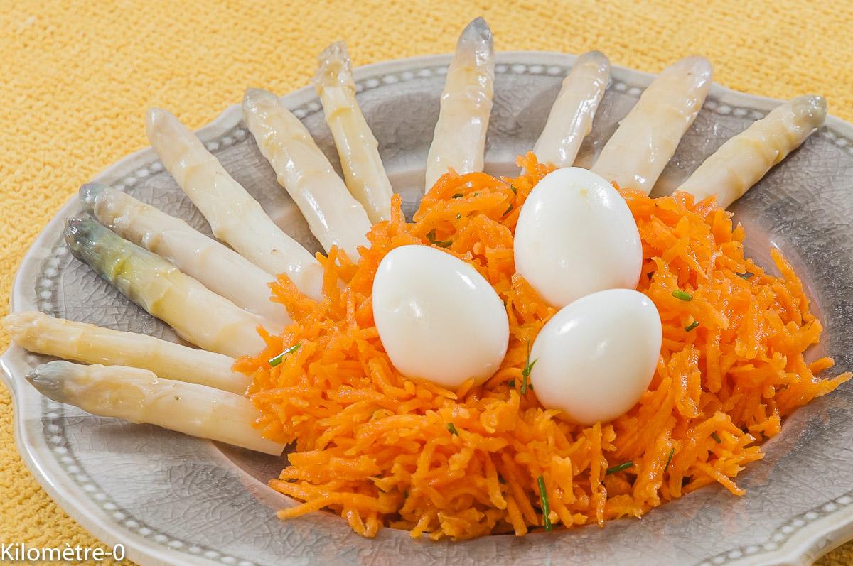 Photo de recette de salade facile, carottes râpées, oeuf de caille, asperges, rapide, léger  Kilomètre-0, blog de cuisine réalisée à partir de produits locaux et issus de circuits courts