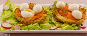 Photo de recette de nid, pomme de terre, saumon fumé, oeuf de caille, facile, Pâques, rapide, léger de Kilomètre-0, blog de cuisine réalisée à partir de produits locaux et issus de circuits courts