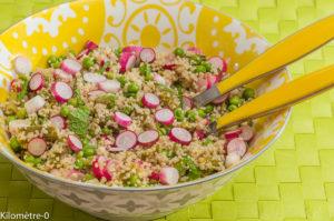 Photo de recette de salade, semoule, asperges vertes, radis, petit pois, facile, léger, bio de Kilomètre-0, blog de cuisine réalisée à partir de produits locaux et issus de circuits courts