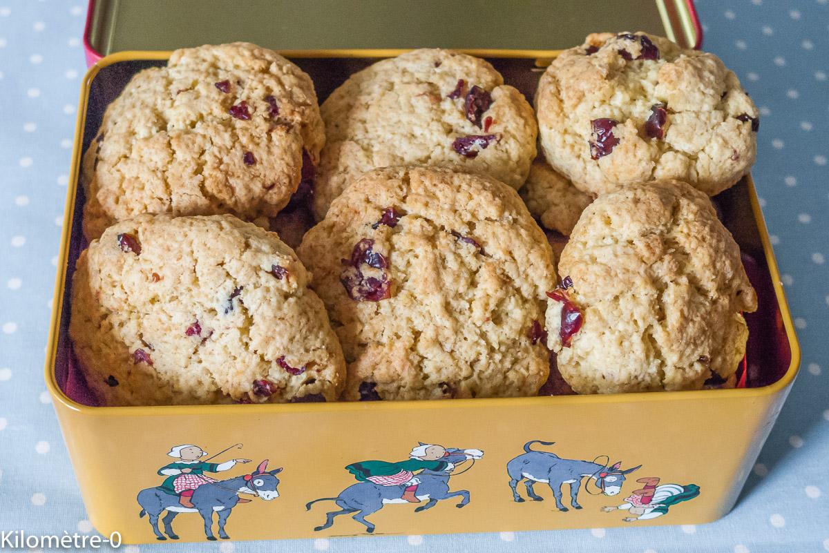 Photo de recette de cookies, cranberries, noix de coco, facile, léger, bio, rapide, maison de  Kilomètre-0, blog de cuisine réalisée à partir de produits locaux et issus de circuits courts