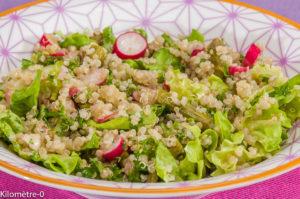 Photo de recette de salade, quinoa, asperge verte, radis, facile, bio, rapide, léger, maison de  Kilomètre-0, blog de cuisine réalisée à partir de produits locaux et issus de circuits courts