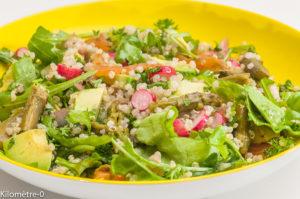 Photo de recette de salade, quinoa, aspeerges, avocart, radis, roquette, facile, bio, rapide, léger de  Kilomètre-0, blog de cuisine réalisée à partir de produits locaux et issus de circuits courts