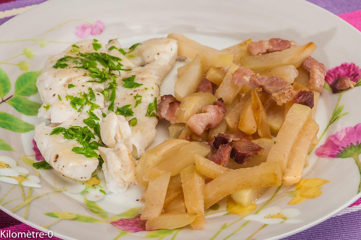 Photo de recette de merlu, chou rave, facile, poisson léger, rapide de Kilomètre-0, blog de cuisine réalisée à partir de produits locaux et issus de circuits courts
