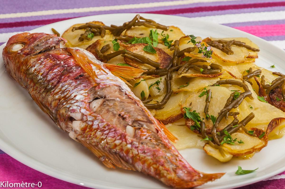Photo de recette de poisson, rouget, pomme de terre, salicorne, facile, rapide, léger de  Kilomètre-0, blog de cuisine réalisée à partir de produits locaux et issus de circuits courts