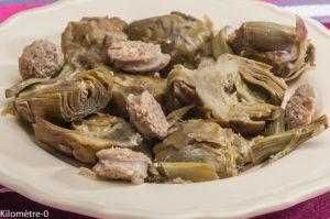Photo de recette d'artichauts, saucisse, italienne, facile, rapide, léger de Kilomètre-0, blog de cuisine réalisée à partir de produits locaux et issus de circuits courts
