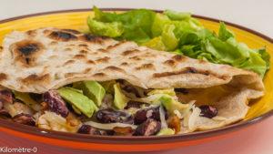 Photo de recette de tortilla, cuisine sud américaine, avocat, dinde, fromage, haricots rouges, facile, Kilomètre-0, blog de cuisine réalisée à partir de produits locaux et issus de circuits courts
