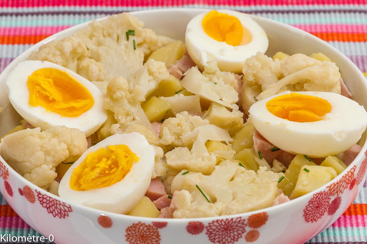 Photo de recette de salade, pomme de terre, chou fleur, oeuf, jambon, facile, rapide, léger, bio de Kilomètre-0, blog de cuisine réalisée à partir de produits locaux et issus de circuits courts