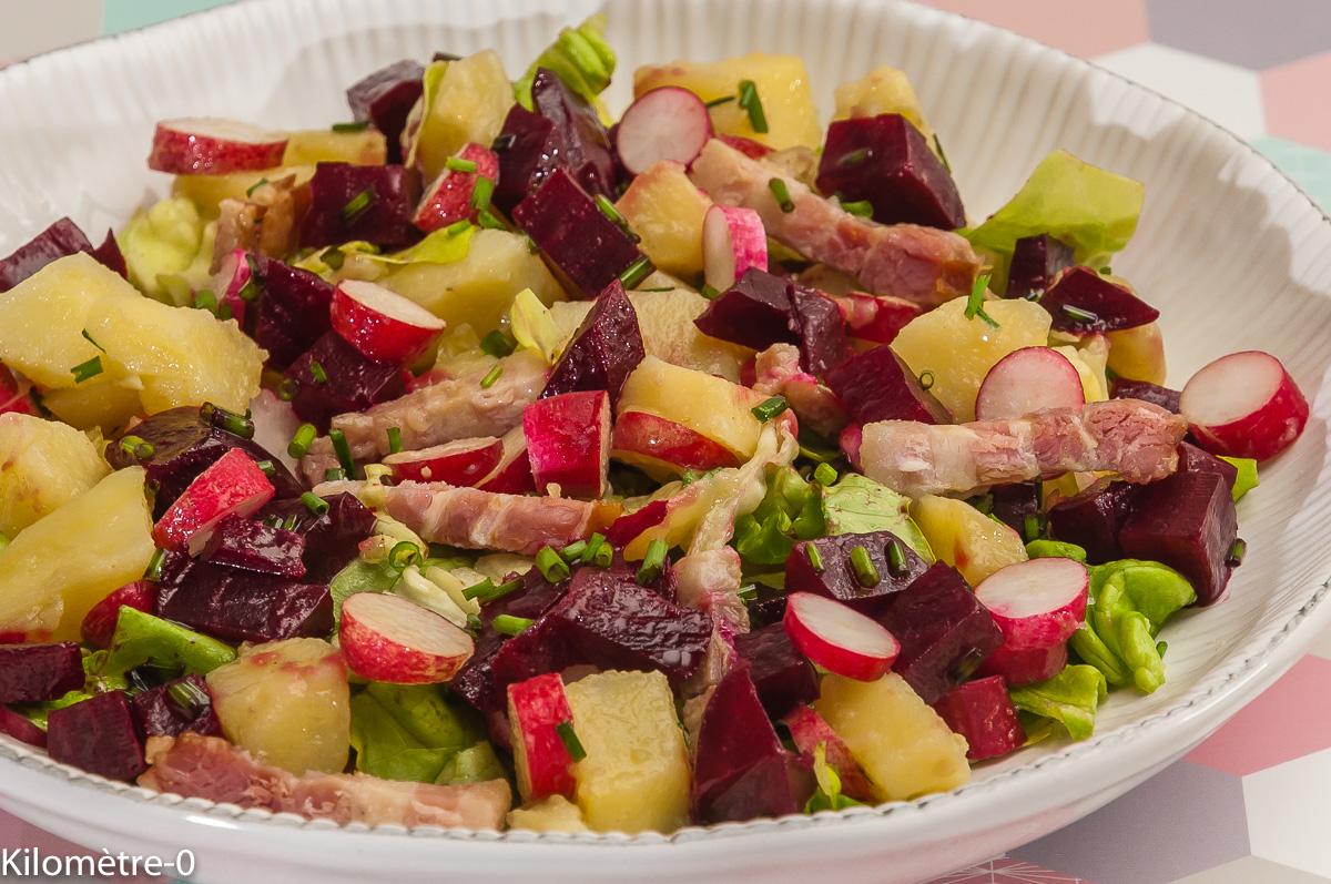 Photo de recette de salade, pomme de terre, betterave, lardons, facile, bio, rapide, Kilomètre-0, blog de cuisine réalisée à partir de produits locaux et issus de circuits courts