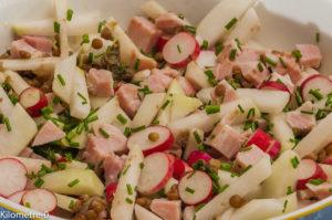 Photo de recette de salade lentilles, radis, chou rave, jambon, bio, facile, léger de Kilomètre-0, blog de cuisine réalisée à partir de produits locaux et issus de circuits courts