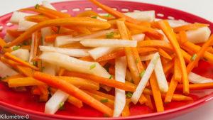 Photo de recette de salade, carottes, chou rave, facile, rapide, léger, bio de Kilomètre-0, blog de cuisine réalisée à partir de produits locaux et issus de circuits courts
