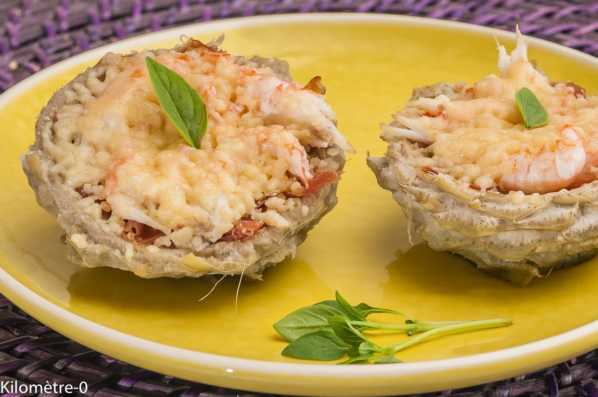 Photo de recette d'artichaut, parmesan, langoustine, jambon, facile  Kilomètre-0, blog de cuisine réalisée à partir de produits locaux et issus de circuits courts