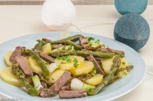 Photo de recette de salade de boeuf, pomme de terre nouvelle, asperges vertes, facile, rapide, Kilomètre-0, blog de cuisine réalisée à partir de produits locaux et issus de circuits courts